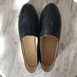 New in box Chanel black lambskin espadrilles